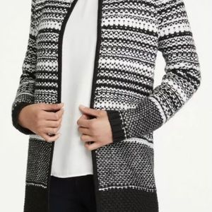 NWT! Ann Taylor Black and White Ombre Coatigan